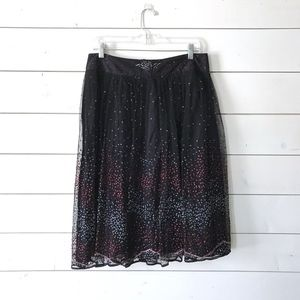 French Connection Blk Tulle Sequin Full Midi Skirt